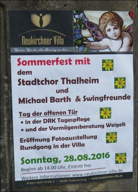 Plakat mit dem Programm vom Sommerfest in der Thalheimer Neukirchner Villa